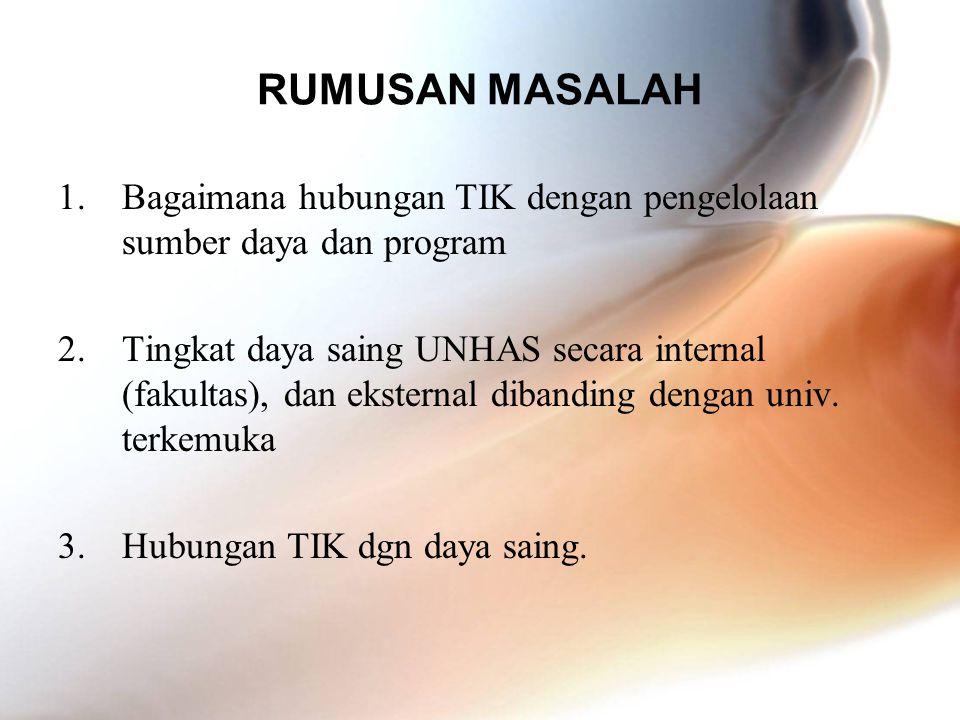 RUMUSAN MASALAH 1.Bagaimana hubungan TIK dengan pengelolaan sumber daya dan program 2.Tingkat daya saing UNHAS secara internal (fakultas), dan ekstern