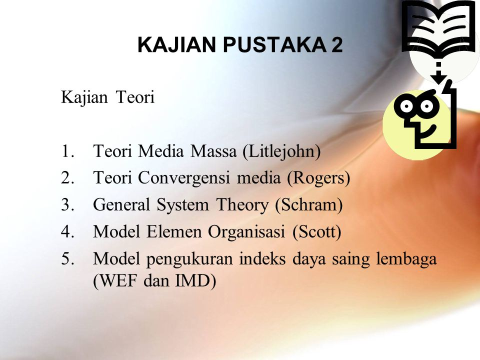 KAJIAN PUSTAKA 3 Mass Media 1.Demassified 2.Linear (One way) 3.Indoctrination ICT (New Media) 1.Individualised 2.Interactive (Two way) 3.Compromistic