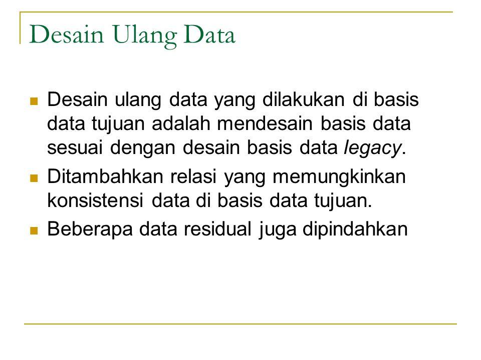 Desain Ulang Data  Desain ulang data yang dilakukan di basis data tujuan adalah mendesain basis data sesuai dengan desain basis data legacy.