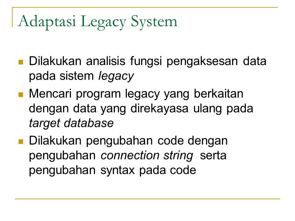 Adaptasi Legacy System  Dilakukan analisis fungsi pengaksesan data pada sistem legacy  Mencari program legacy yang berkaitan dengan data yang direkayasa ulang pada target database  Dilakukan pengubahan code dengan pengubahan connection string serta pengubahan syntax pada code