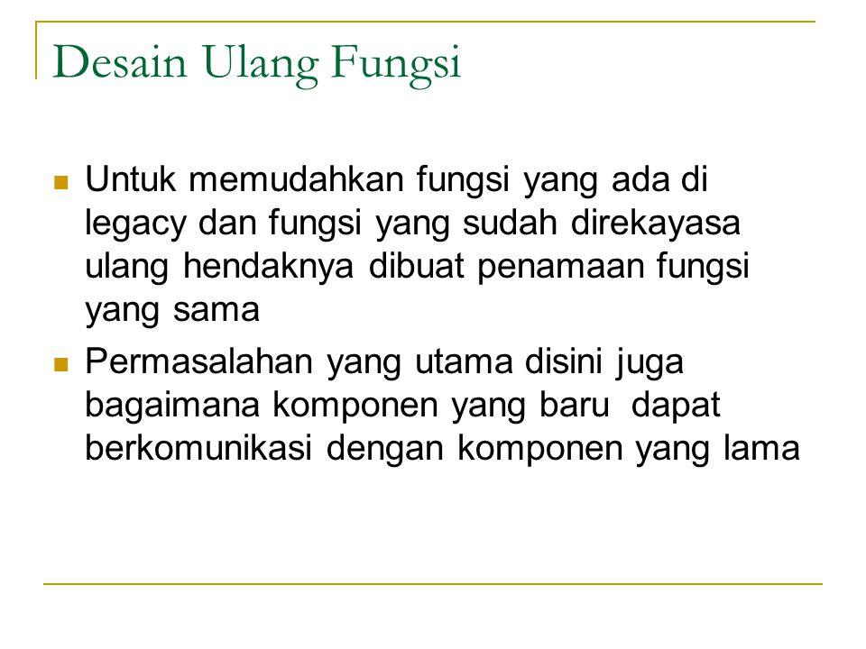Desain Ulang Fungsi  Untuk memudahkan fungsi yang ada di legacy dan fungsi yang sudah direkayasa ulang hendaknya dibuat penamaan fungsi yang sama  Permasalahan yang utama disini juga bagaimana komponen yang baru dapat berkomunikasi dengan komponen yang lama