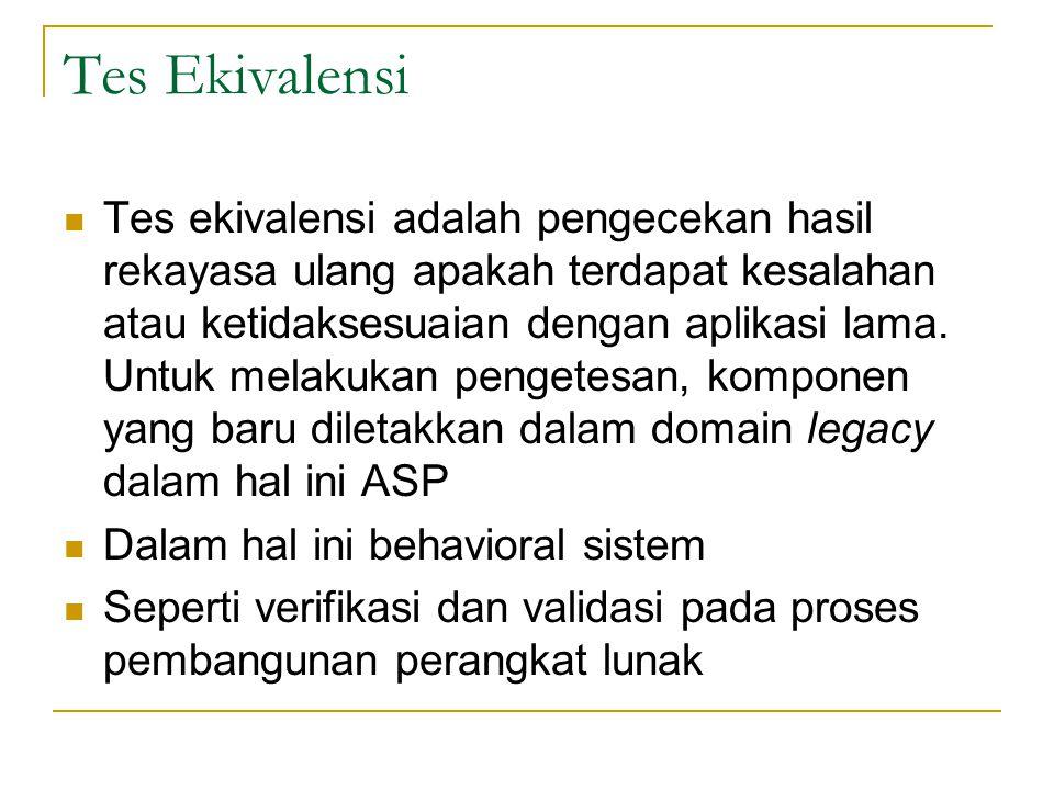 Tes Ekivalensi  Tes ekivalensi adalah pengecekan hasil rekayasa ulang apakah terdapat kesalahan atau ketidaksesuaian dengan aplikasi lama.