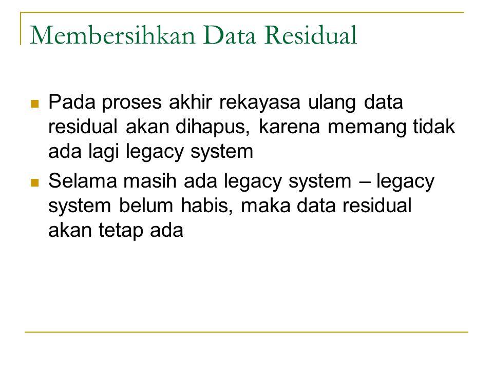 Membersihkan Data Residual  Pada proses akhir rekayasa ulang data residual akan dihapus, karena memang tidak ada lagi legacy system  Selama masih ada legacy system – legacy system belum habis, maka data residual akan tetap ada