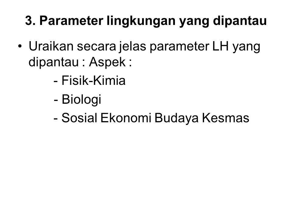 3. Parameter lingkungan yang dipantau •Uraikan secara jelas parameter LH yang dipantau : Aspek : - Fisik-Kimia - Biologi - Sosial Ekonomi Budaya Kesma
