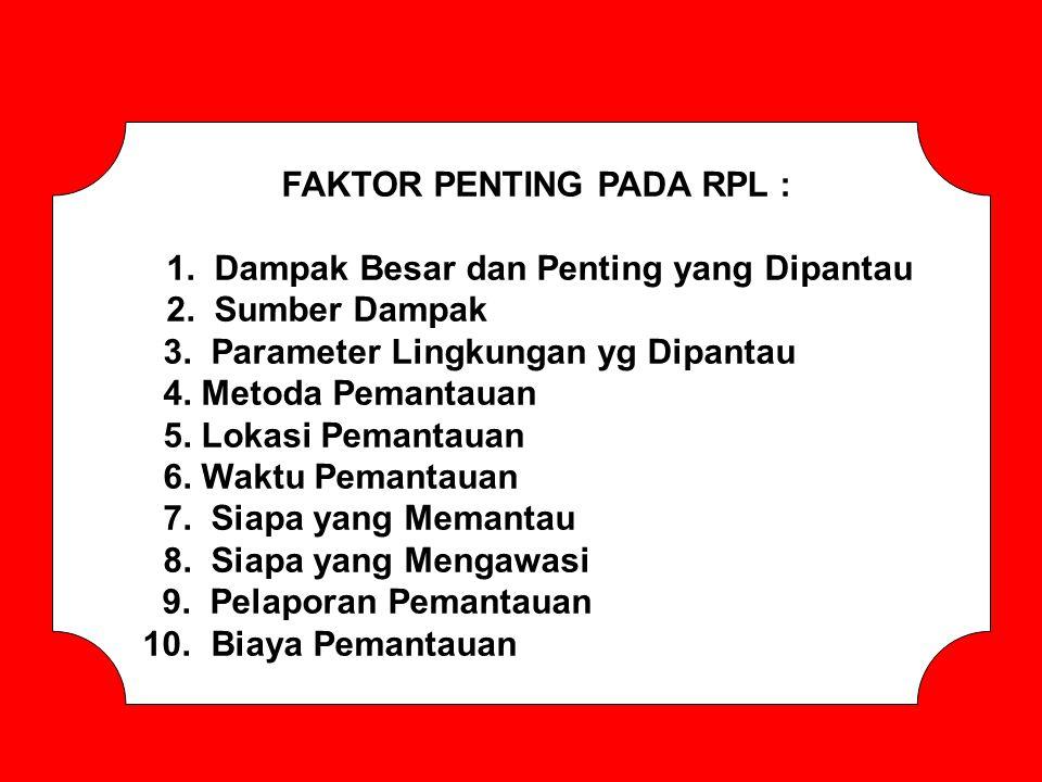 FAKTOR PENTING PADA RPL : 1. Dampak Besar dan Penting yang Dipantau 2. Sumber Dampak 3. Parameter Lingkungan yg Dipantau 4. Metoda Pemantauan 5. Lokas
