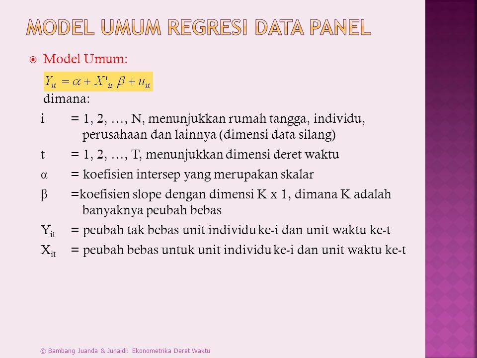  Model Umum: dimana: i = 1, 2, …, N, menunjukkan rumah tangga, individu, perusahaan dan lainnya (dimensi data silang) t = 1, 2, …, T, menunjukkan dim