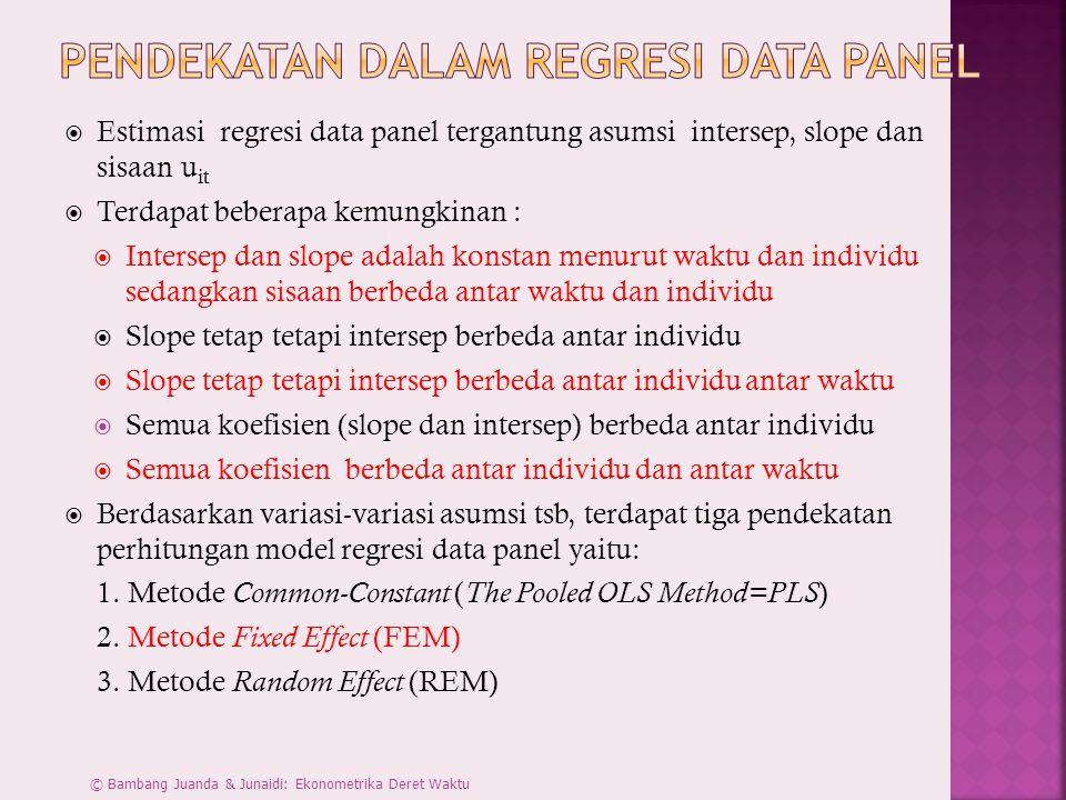  Estimasi regresi data panel tergantung asumsi intersep, slope dan sisaan u it  Terdapat beberapa kemungkinan :  Intersep dan slope adalah konstan