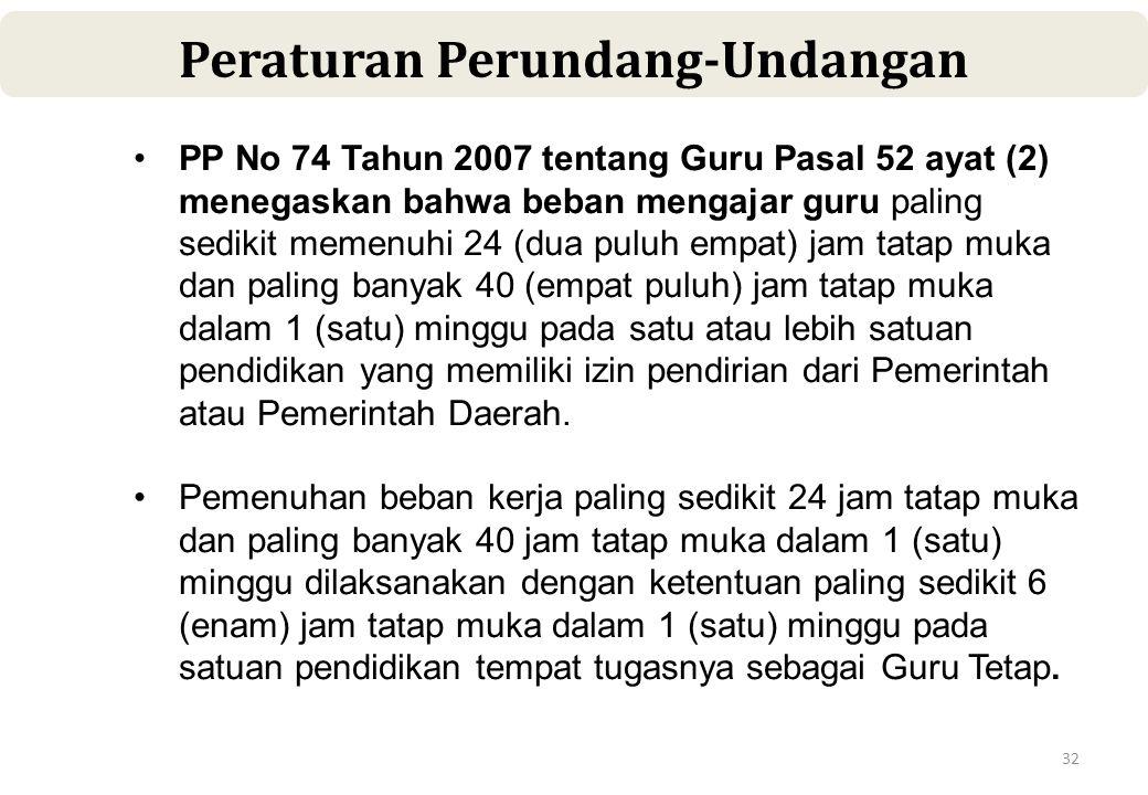 32 Peraturan Perundang-Undangan •PP No 74 Tahun 2007 tentang Guru Pasal 52 ayat (2) menegaskan bahwa beban mengajar guru paling sedikit memenuhi 24 (dua puluh empat) jam tatap muka dan paling banyak 40 (empat puluh) jam tatap muka dalam 1 (satu) minggu pada satu atau lebih satuan pendidikan yang memiliki izin pendirian dari Pemerintah atau Pemerintah Daerah.