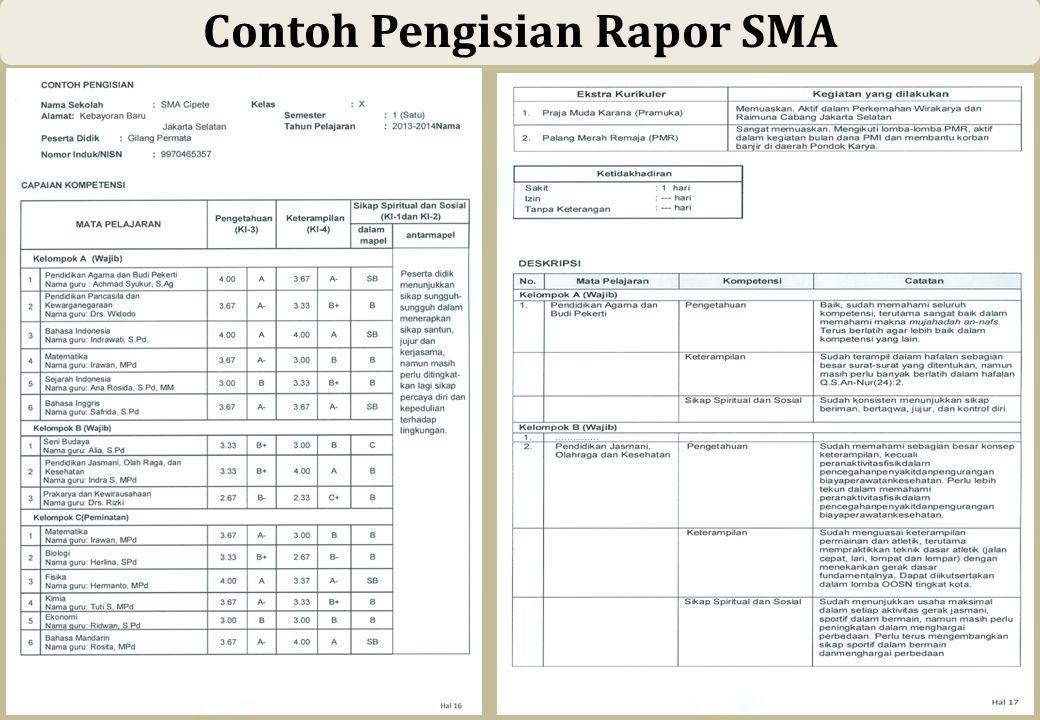 56 Contoh Pengisian Rapor SMA