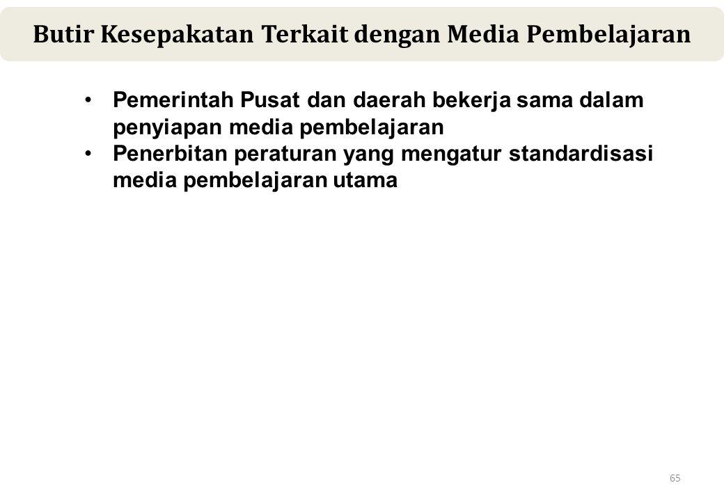65 Butir Kesepakatan Terkait dengan Media Pembelajaran •Pemerintah Pusat dan daerah bekerja sama dalam penyiapan media pembelajaran •Penerbitan peraturan yang mengatur standardisasi media pembelajaran utama
