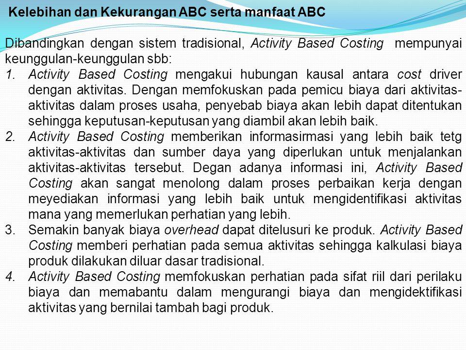 Kelebihan dan Kekurangan ABC serta manfaat ABC Dibandingkan dengan sistem tradisional, Activity Based Costing mempunyai keunggulan-keunggulan sbb: 1.A