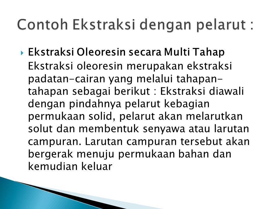  Ekstraksi Oleoresin secara Multi Tahap Ekstraksi oleoresin merupakan ekstraksi padatan-cairan yang melalui tahapan- tahapan sebagai berikut : Ekstra