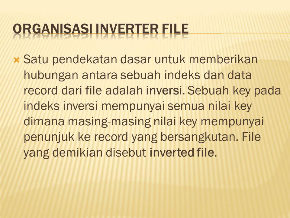 Satu pendekatan dasar untuk memberikan hubungan antara sebuah indeks dan data record dari file adalah inversi. Sebuah key pada indeks inversi mempun