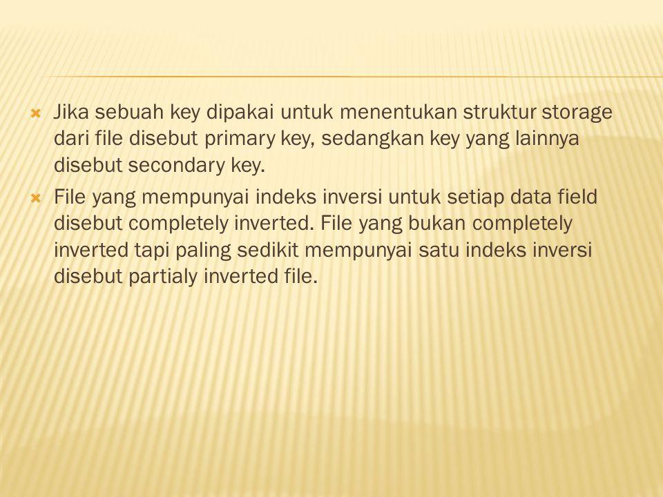  Jika sebuah key dipakai untuk menentukan struktur storage dari file disebut primary key, sedangkan key yang lainnya disebut secondary key.  File ya