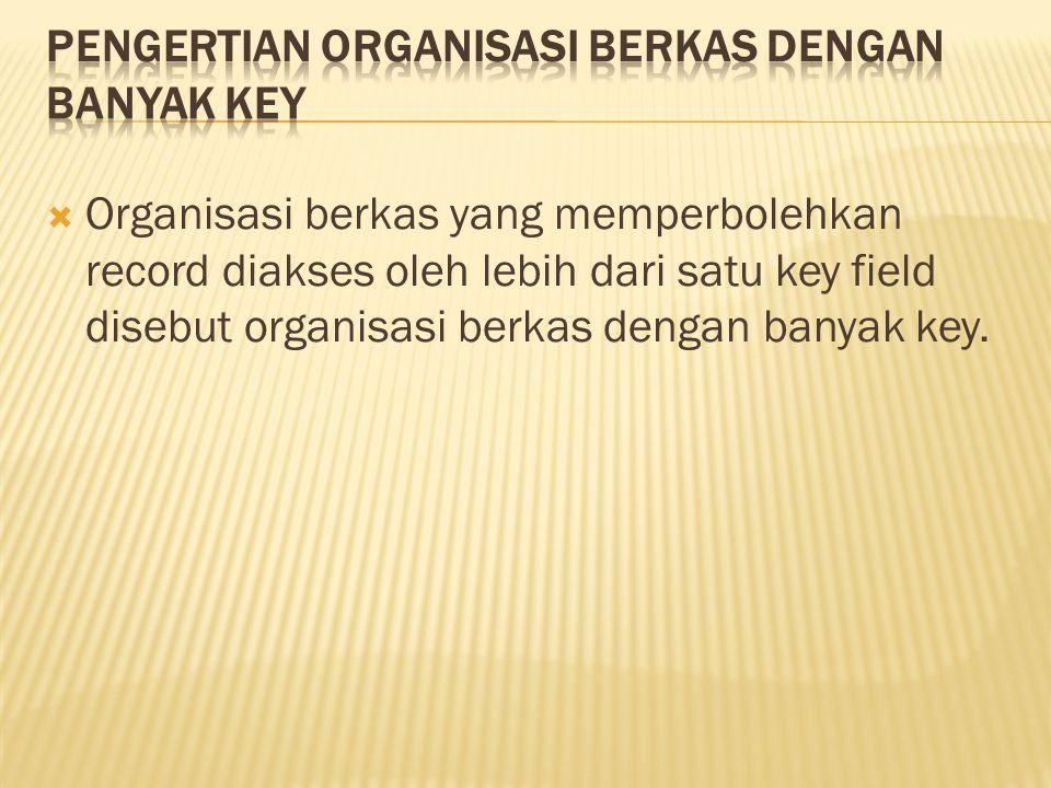  Organisasi berkas yang memperbolehkan record diakses oleh lebih dari satu key field disebut organisasi berkas dengan banyak key.