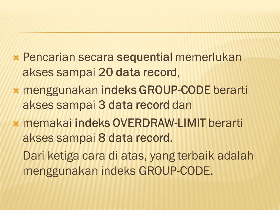 Pencarian secara sequential memerlukan akses sampai 20 data record,  menggunakan indeks GROUP-CODE berarti akses sampai 3 data record dan  memakai