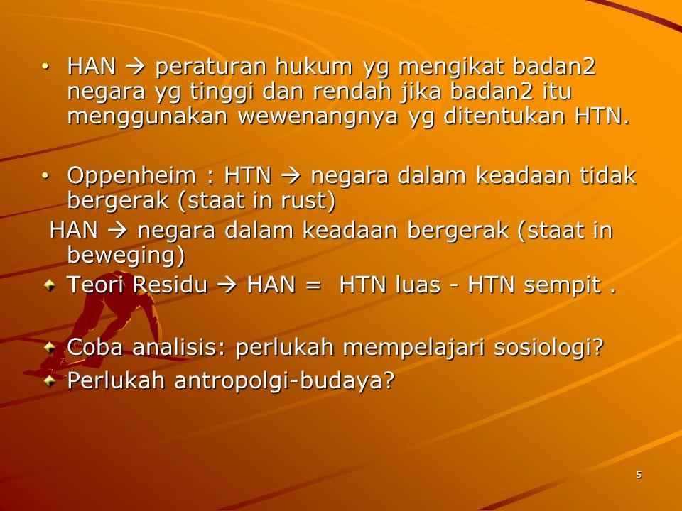 • HAN  peraturan hukum yg mengikat badan2 negara yg tinggi dan rendah jika badan2 itu menggunakan wewenangnya yg ditentukan HTN.