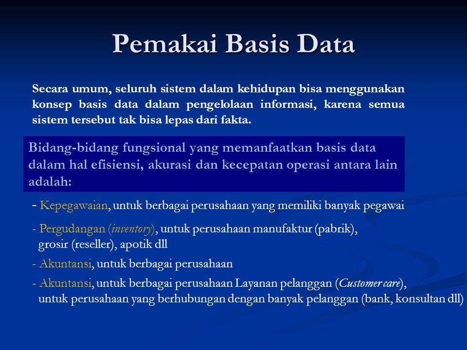 Pemakai Basis Data Secara umum, seluruh sistem dalam kehidupan bisa menggunakan konsep basis data dalam pengelolaan informasi, karena semua sistem ter