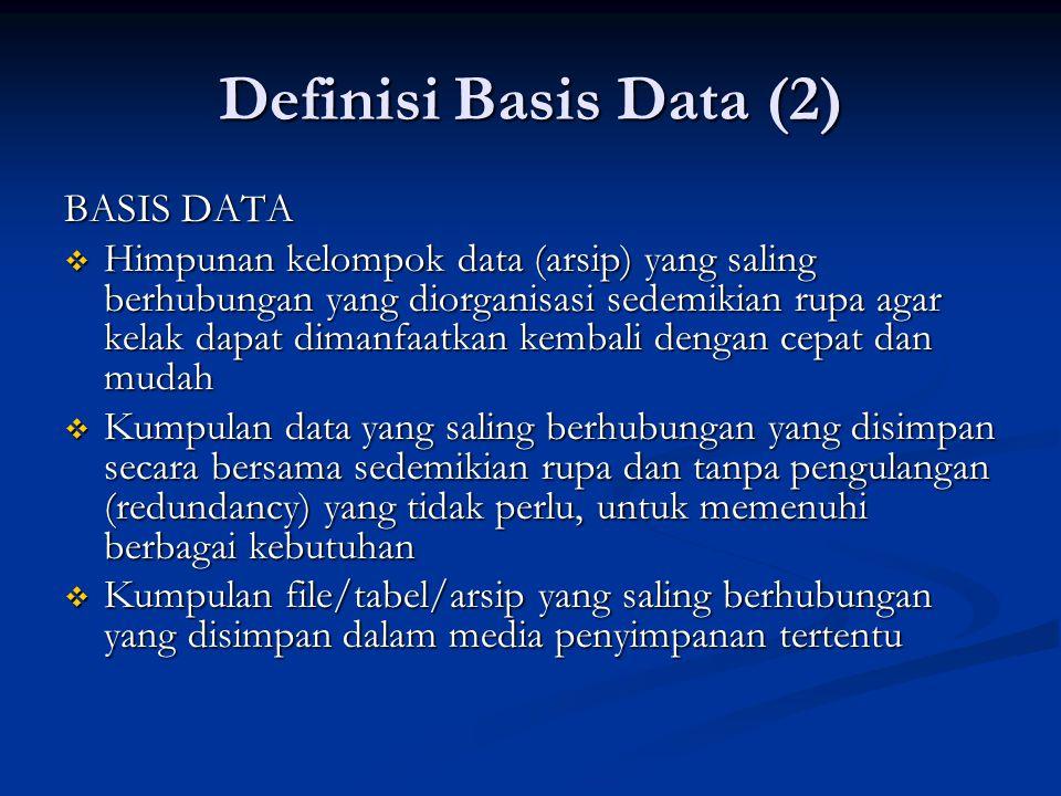 Definisi Basis Data (2) BASIS DATA  Himpunan kelompok data (arsip) yang saling berhubungan yang diorganisasi sedemikian rupa agar kelak dapat dimanfa