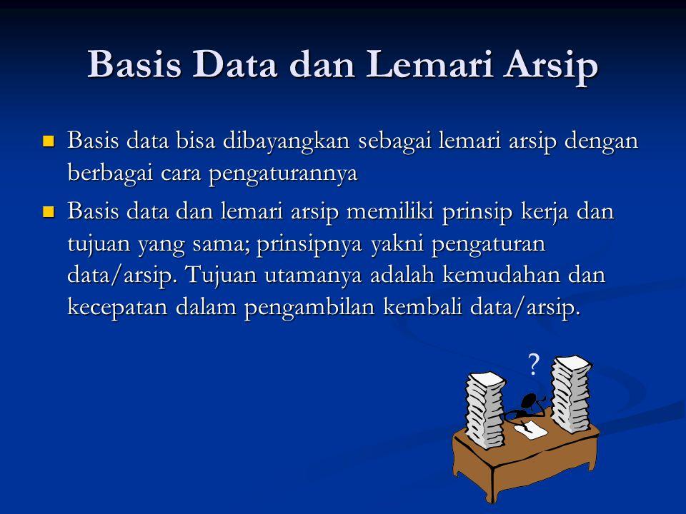 Basis Data dan Lemari Arsip  Basis data bisa dibayangkan sebagai lemari arsip dengan berbagai cara pengaturannya  Basis data dan lemari arsip memili
