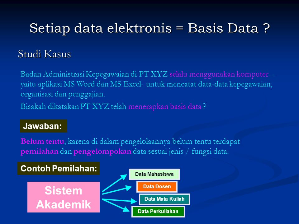 Setiap data elektronis = Basis Data ? Studi Kasus Badan Administrasi Kepegawaian di PT XYZ selalu menggunakan komputer - yaitu aplikasi MS Word dan MS