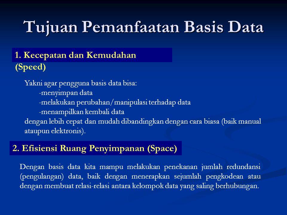 Tujuan Pemanfaatan Basis Data 1. Kecepatan dan Kemudahan (Speed) Yakni agar pengguna basis data bisa: -m-menyimpan data -m-melakukan perubahan/manipul