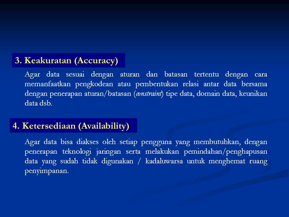 3. Keakuratan (Accuracy) Agar data sesuai dengan aturan dan batasan tertentu dengan cara memanfaatkan pengkodean atau pembentukan relasi antar data be