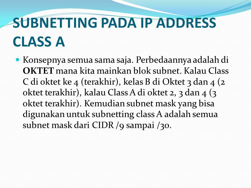 SUBNETTING PADA IP ADDRESS CLASS A  Konsepnya semua sama saja.