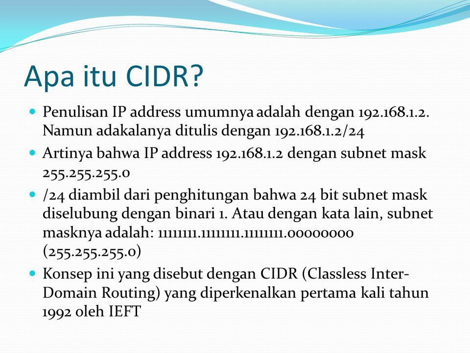 Apa itu CIDR. Penulisan IP address umumnya adalah dengan 192.168.1.2.