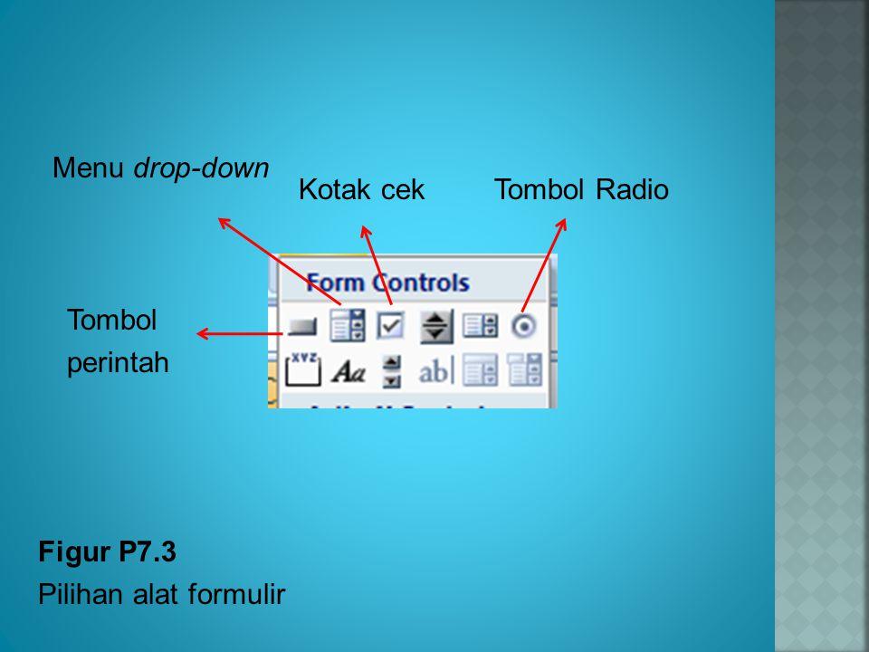 Figur P7.3 Pilihan alat formulir Menu drop-down Tombol perintah Kotak cekTombol Radio