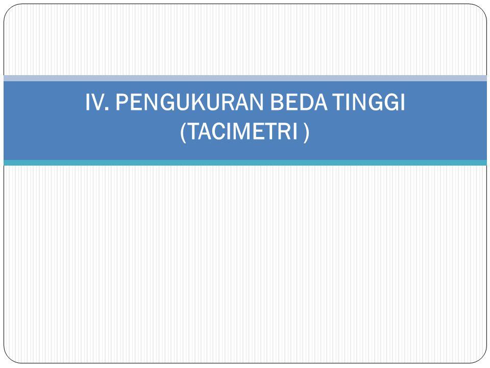 Tacimetri adalah suatu metode pengukuran jarak horizontal dan jarak vertikal dengan membaca nonius horizontal dan nonius vertikal serta membaca benang – benang silang pada alat teodolit terhadap rambu.