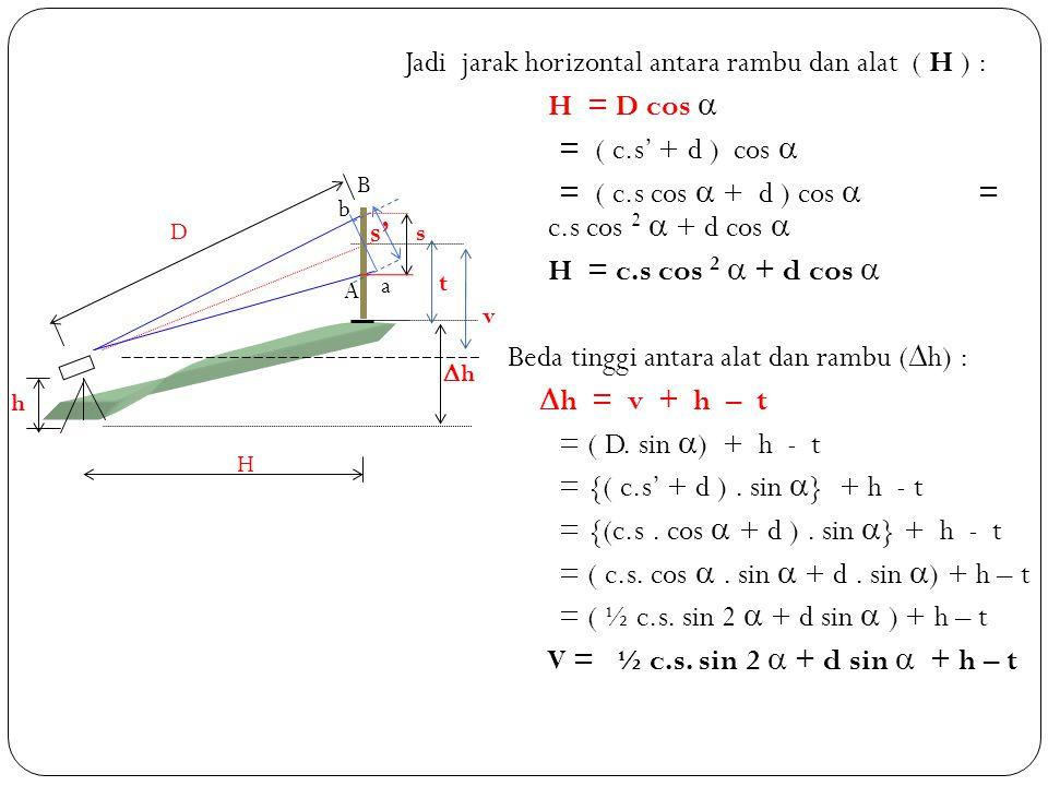 Jadi jarak horizontal antara rambu dan alat ( H ) : H = D cos  = ( c.s' + d ) cos  = ( c.s cos  + d ) cos  = c.s cos 2  + d cos  H = c.s cos 2 