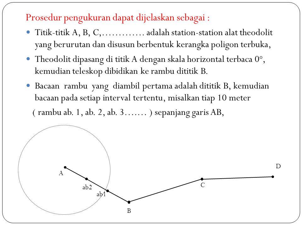  Kemudian, teleskop diputar pada skala horizontal tertentu ( misalkan 30 o ), dan letakan rambu (a1) dan baca, selanjutnya baca rambu yang dipasang sepangjang garis tersebut pada setiap interval tertentu misalkan setiap 10 meter ( rambu a1.