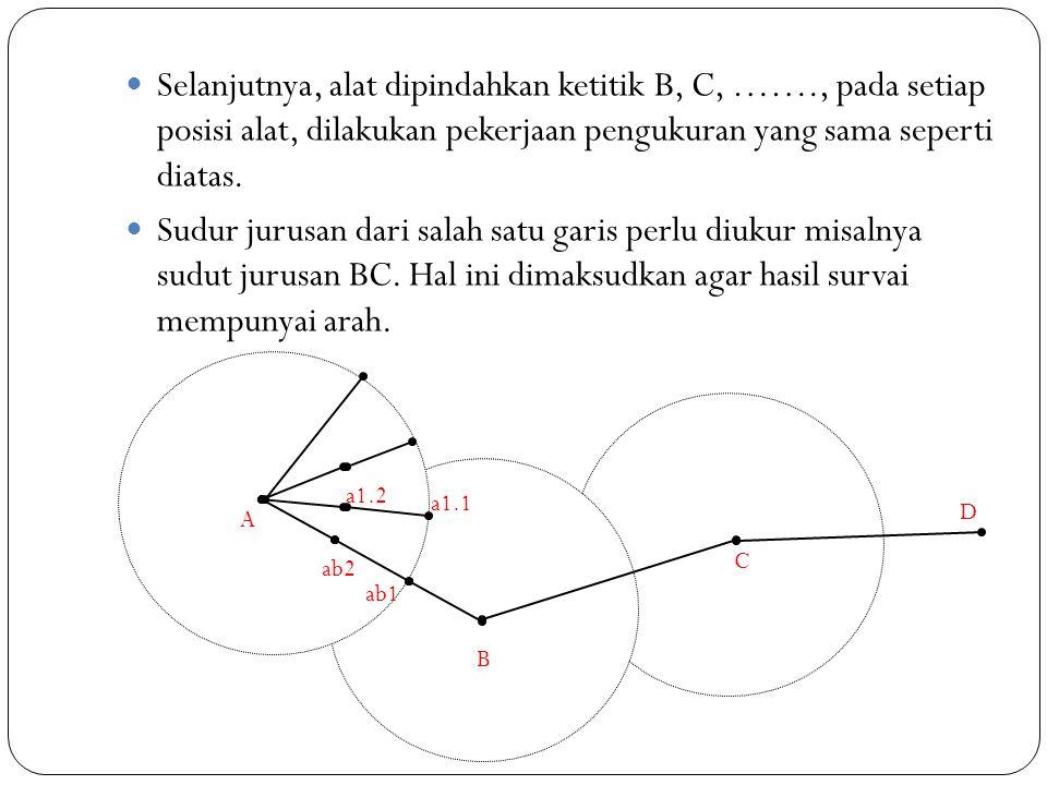  Selanjutnya, alat dipindahkan ketitik B, C, ……., pada setiap posisi alat, dilakukan pekerjaan pengukuran yang sama seperti diatas.  Sudur jurusan d