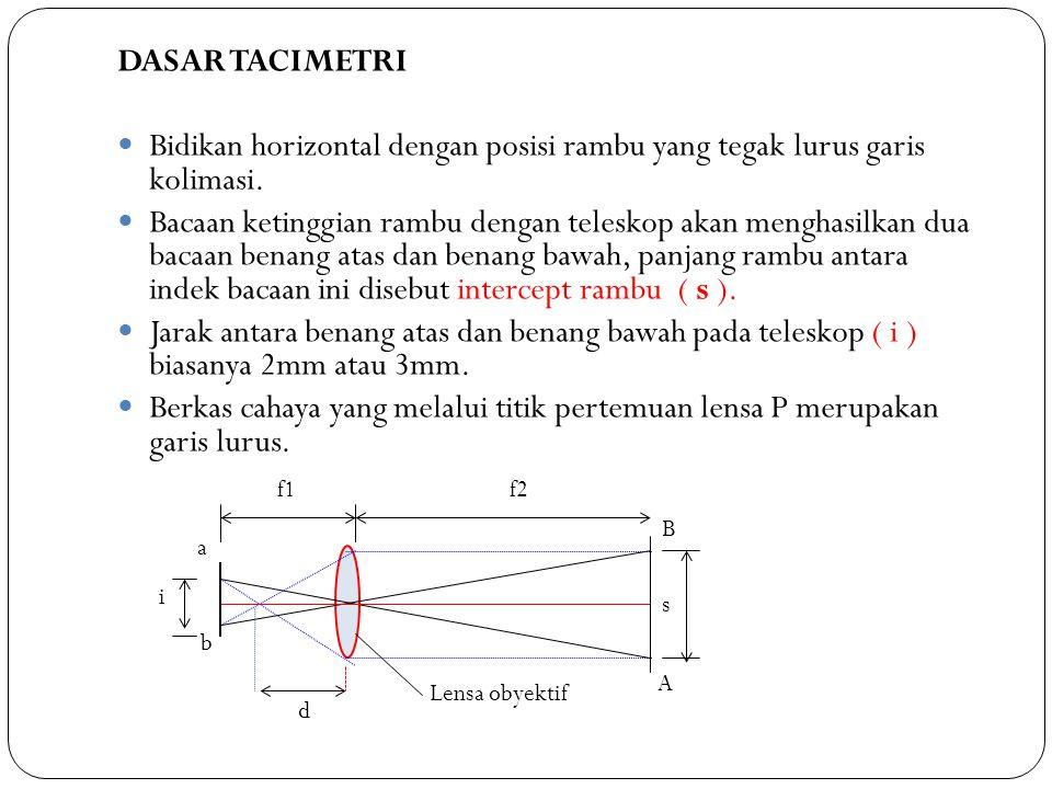 A B a b s i d f1f2 Lensa obyektif P Keterangan : i dan f 2 = konstanta suatu alat c = konstanta pengali biasanya (c = 100) d = konstanta tambahan s = indek bacaan benang bawah dan benang atas D = jarak antara alat sampai rambu Apabila tacimetri dipasang dengan benar (sumbu vertikal tepat diatas station alat, teleskop horizontal) dan rambu dipegang benar-benar vertikal, maka D merupakan jarak antara alat dan rambu.