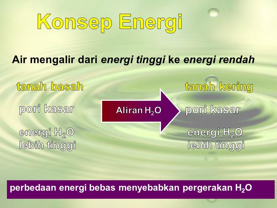 perbedaan energi bebas menyebabkan pergerakan H 2 O Air mengalir dari energi tinggi ke energi rendah
