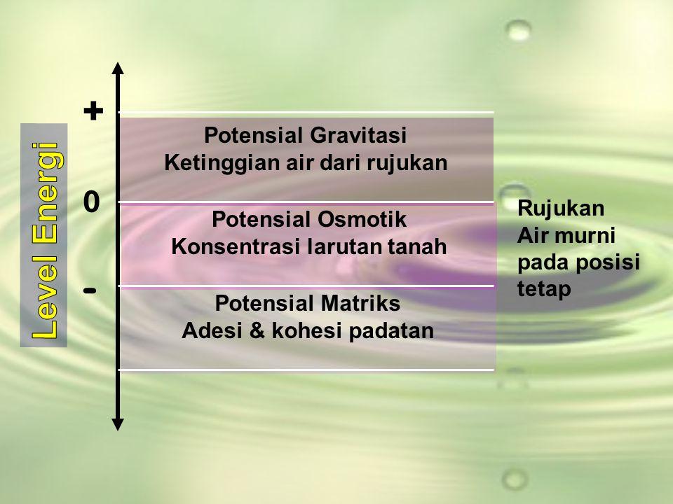 Potensial Gravitasi Ketinggian air dari rujukan Potensial Matriks Adesi & kohesi padatan Rujukan Air murni pada posisi tetap Potensial Osmotik Konsent
