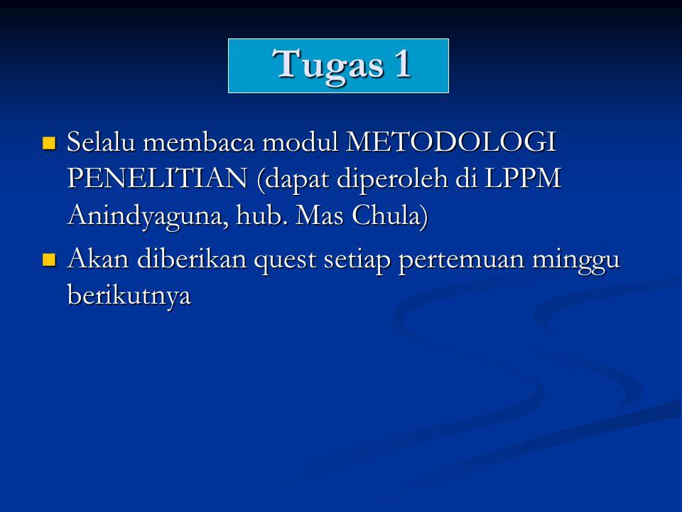 Tugas 1  Selalu membaca modul METODOLOGI PENELITIAN (dapat diperoleh di LPPM Anindyaguna, hub.