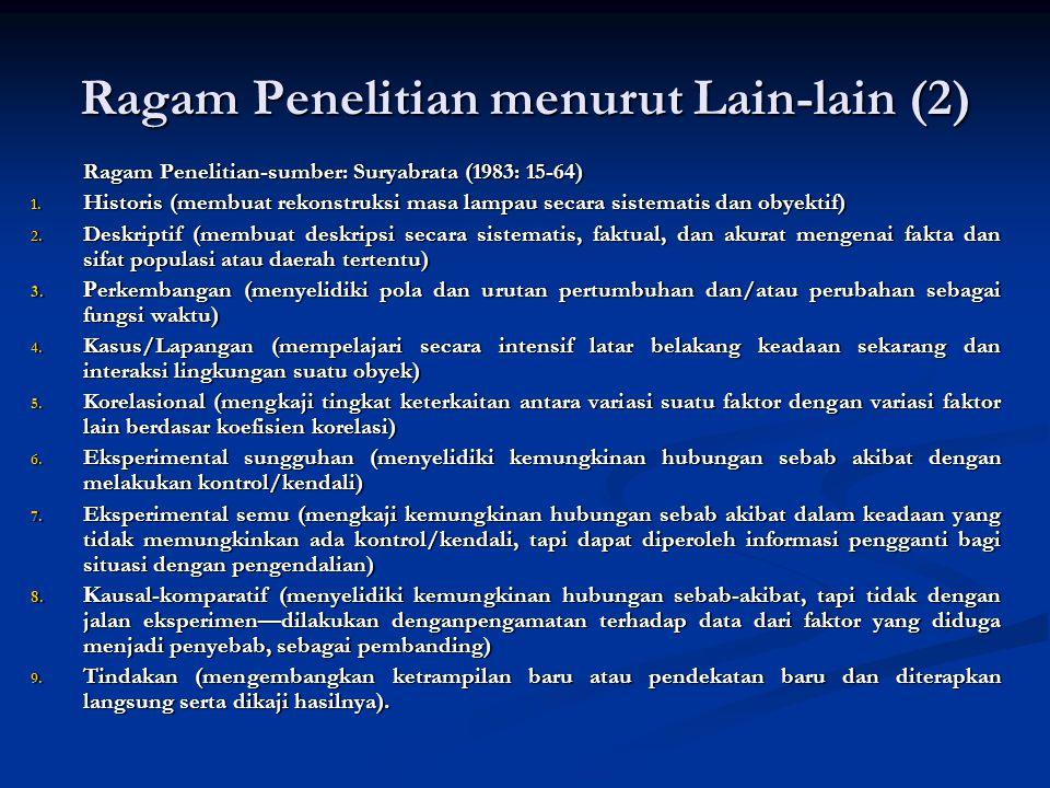 Ragam Penelitian menurut Lain-lain (2) Ragam Penelitian-sumber: Suryabrata (1983: 15-64) Ragam Penelitian-sumber: Suryabrata (1983: 15-64) 1.