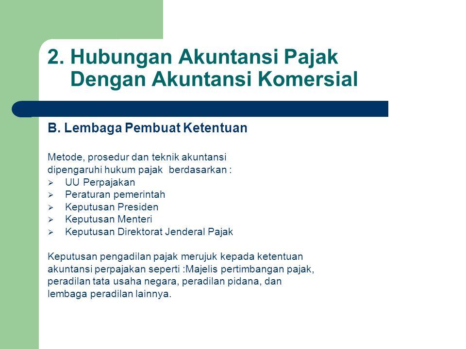 2.Hubungan Akuntansi Pajak Dengan Akuntansi Komersial B.