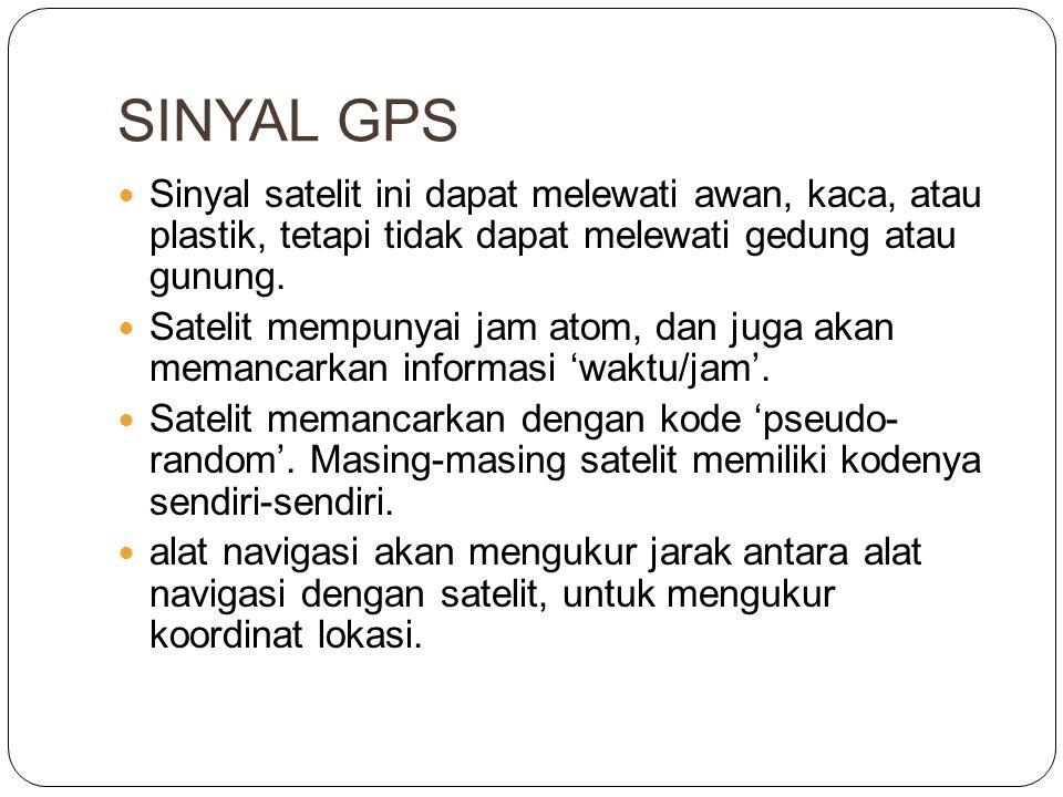 SINYAL GPS  Sinyal satelit ini dapat melewati awan, kaca, atau plastik, tetapi tidak dapat melewati gedung atau gunung.  Satelit mempunyai jam atom,