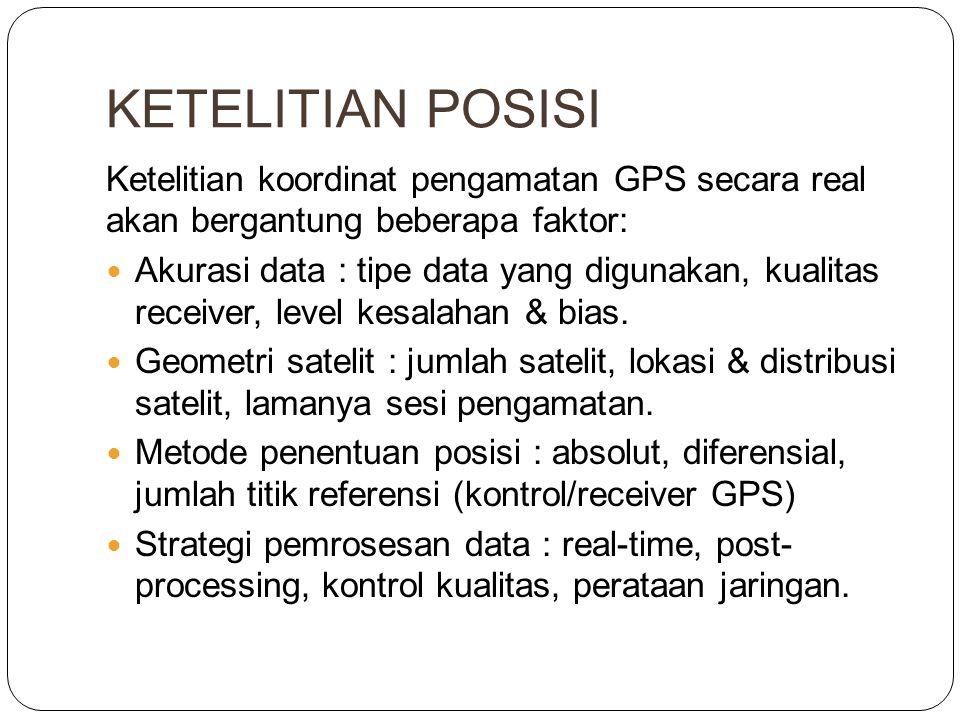KETELITIAN POSISI Ketelitian koordinat pengamatan GPS secara real akan bergantung beberapa faktor:  Akurasi data : tipe data yang digunakan, kualitas