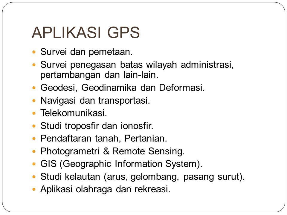APLIKASI GPS  Survei dan pemetaan.  Survei penegasan batas wilayah administrasi, pertambangan dan lain-lain.  Geodesi, Geodinamika dan Deformasi. 