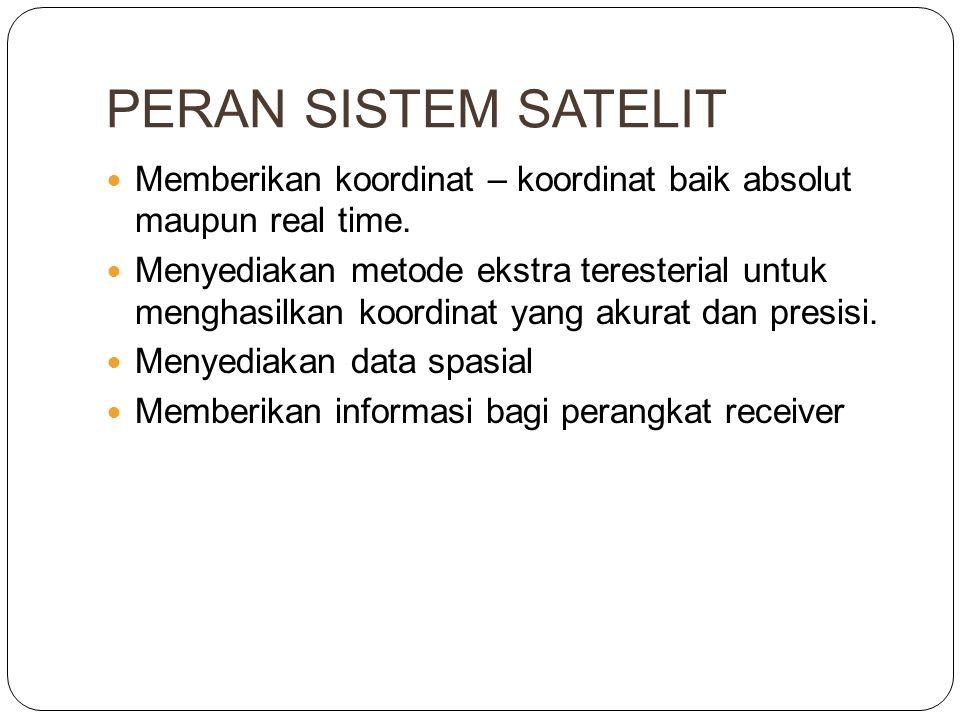 PERAN SISTEM SATELIT  Memberikan koordinat – koordinat baik absolut maupun real time.  Menyediakan metode ekstra teresterial untuk menghasilkan koor