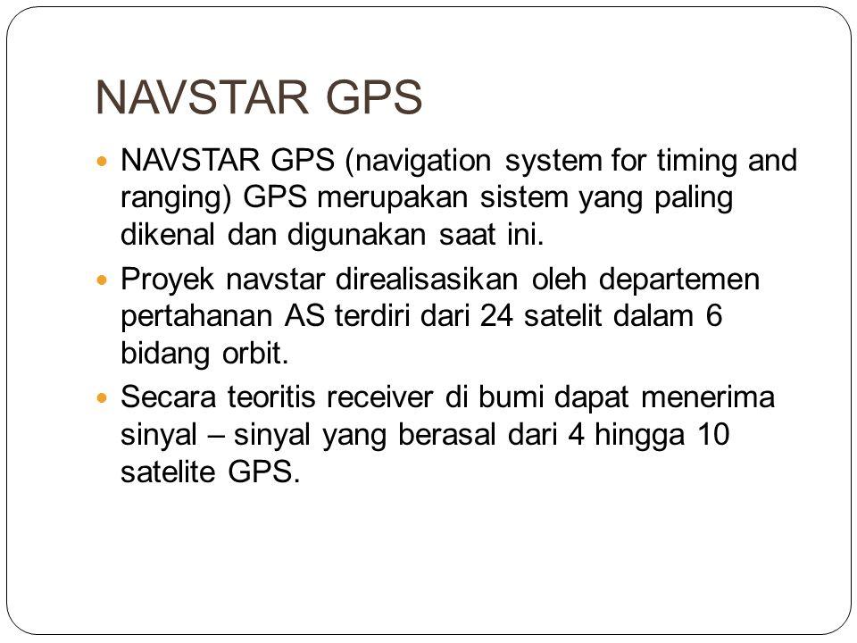 NAVSTAR GPS  NAVSTAR GPS (navigation system for timing and ranging) GPS merupakan sistem yang paling dikenal dan digunakan saat ini.  Proyek navstar