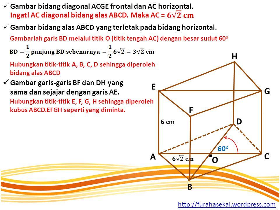 GGambar bidang diagonal ACGE frontal dan AC horizontal.