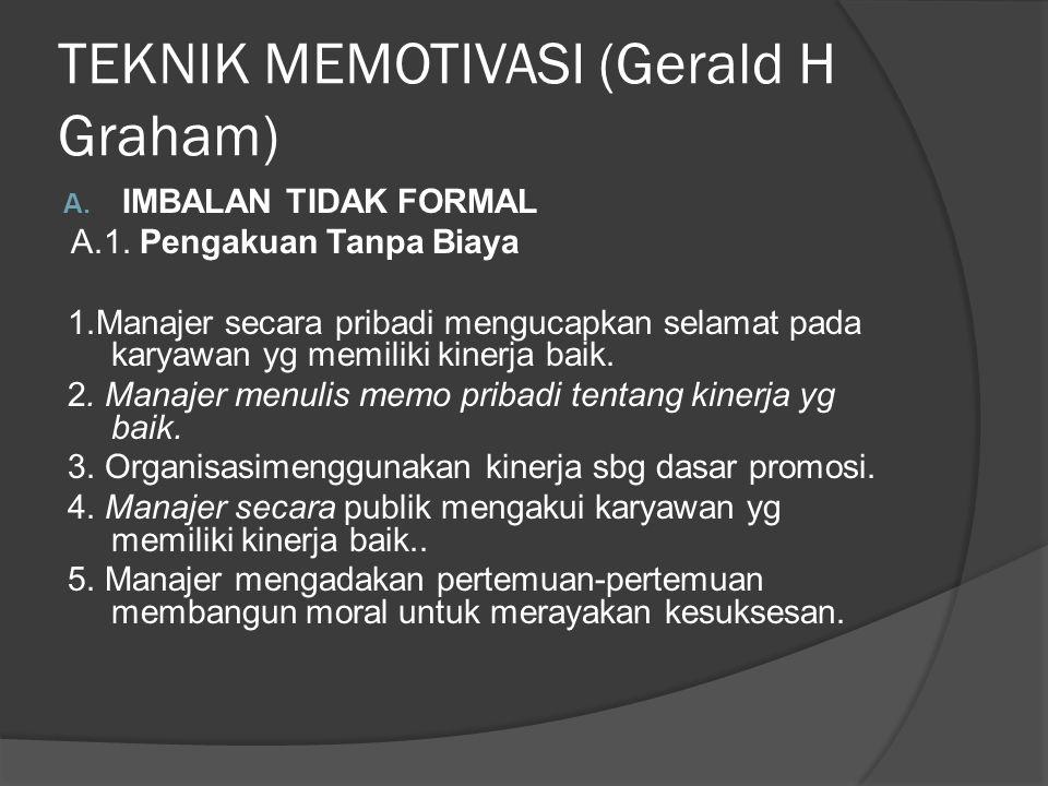 TEKNIK MEMOTIVASI (Gerald H Graham) A. IMBALAN TIDAK FORMAL A.1.