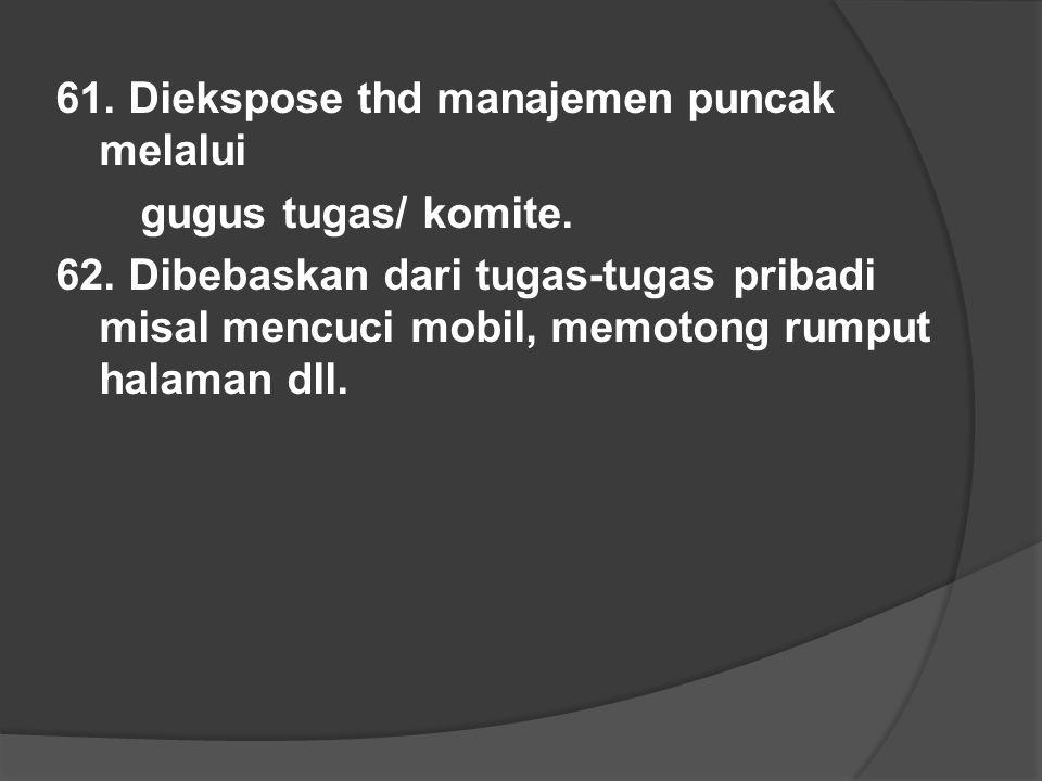 61. Diekspose thd manajemen puncak melalui gugus tugas/ komite.
