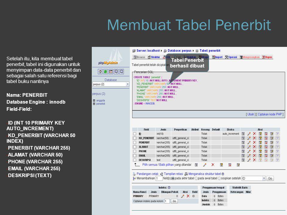 Step 1.c Database Setelah itu, kita membuat tabel penerbit, tabel ini digunakan untuk menyimpan data-data penerbit dan sebagai salah satu referensi ba