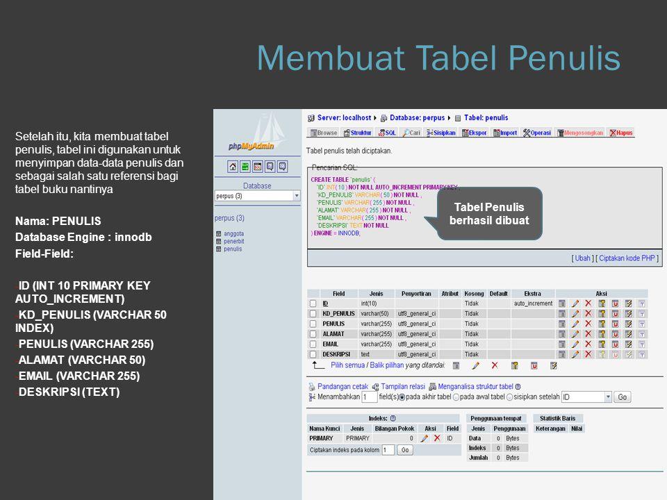 Step 1.d Database Setelah itu, kita membuat tabel penulis, tabel ini digunakan untuk menyimpan data-data penulis dan sebagai salah satu referensi bagi